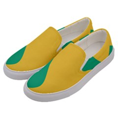 Yellow Green Blue Men s Canvas Slip Ons by Mariart
