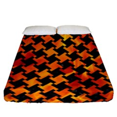 Houndstooth2 Black Marble & Fire Fitted Sheet (queen Size) by trendistuff