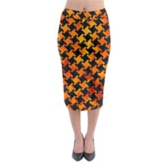 Houndstooth2 Black Marble & Fire Midi Pencil Skirt by trendistuff