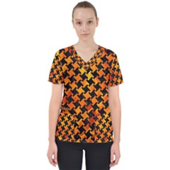 Houndstooth2 Black Marble & Fire Scrub Top