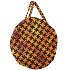 Houndstooth2 Black Marble & Fire Giant Round Zipper Tote by trendistuff