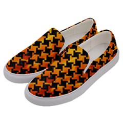 Houndstooth2 Black Marble & Fire Men s Canvas Slip Ons by trendistuff