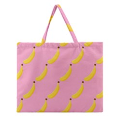 Banana Fruit Yellow Pink Zipper Large Tote Bag by Mariart