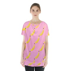Banana Fruit Yellow Pink Skirt Hem Sports Top by Mariart
