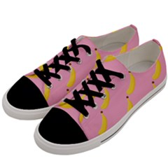 Banana Fruit Yellow Pink Men s Low Top Canvas Sneakers by Mariart