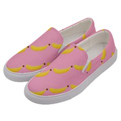 Banana Fruit Yellow Pink Men s Canvas Slip Ons by Mariart