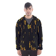 Animated Falling Spinning Shining 3d Golden Dollar Signs Against Transparent Hooded Wind Breaker (men)