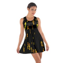 Animated Falling Spinning Shining 3d Golden Dollar Signs Against Transparent Cotton Racerback Dress