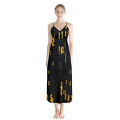 Animated Falling Spinning Shining 3d Golden Dollar Signs Against Transparent Button Up Chiffon Maxi Dress