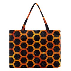 Hexagon2 Black Marble & Fire Medium Tote Bag by trendistuff
