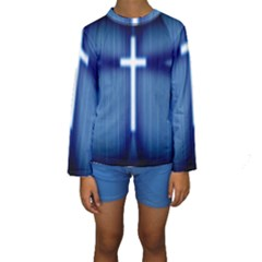 Blue Cross Christian Kids  Long Sleeve Swimwear by Mariart