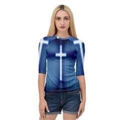 Blue Cross Christian Quarter Sleeve Raglan Tee by Mariart