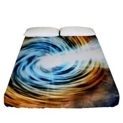 A Blazar Jet In The Middle Galaxy Appear Especially Bright Fitted Sheet (king Size)