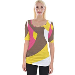 Breast Pink Brown Yellow White Rainbow Wide Neckline Tee by Mariart