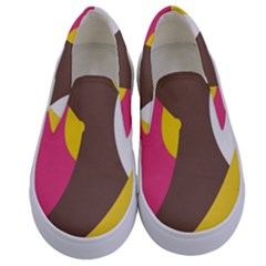 Breast Pink Brown Yellow White Rainbow Kids  Canvas Slip Ons