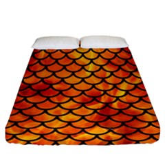 Scales1 Black Marble & Fire (r) Fitted Sheet (california King Size) by trendistuff
