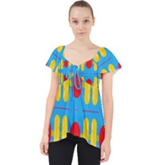 Ovals And Stripes Pattern                          Lace Front Dolly Top
