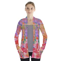 Colorful Watercolors Pattern                      Women s Open Front Pockets Cardigan