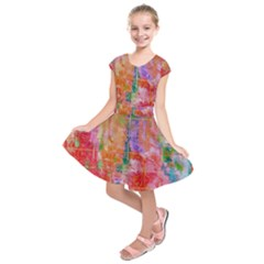Colorful Watercolors Pattern                                Kids  Short Sleeve Dress by LalyLauraFLM