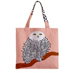 Animals Bird Owl Pink Polka Dots Zipper Grocery Tote Bag by Mariart