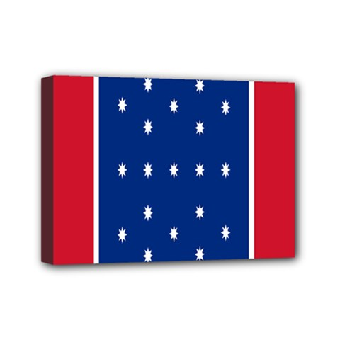 British American Flag Red Blue Star Mini Canvas 7  X 5  by Mariart