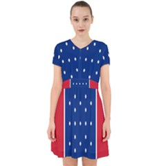 British American Flag Red Blue Star Adorable In Chiffon Dress