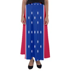 British American Flag Red Blue Star Flared Maxi Skirt