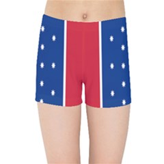 British American Flag Red Blue Star Kids Sports Shorts by Mariart