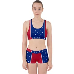 British American Flag Red Blue Star Work It Out Sports Bra Set by Mariart