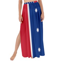 British American Flag Red Blue Star Maxi Chiffon Tie Up Sarong