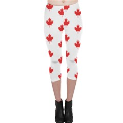 Canadian Maple Leaf Pattern Capri Leggings  by Mariart