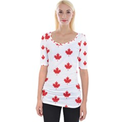 Canadian Maple Leaf Pattern Wide Neckline Tee by Mariart