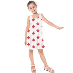 Canadian Maple Leaf Pattern Kids  Sleeveless Dress by Mariart