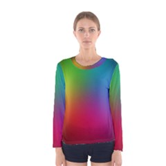 Bright Lines Resolution Image Wallpaper Rainbow Women s Long Sleeve Tee by Mariart