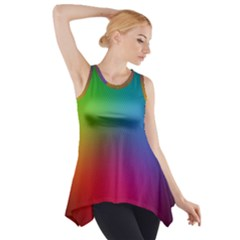 Bright Lines Resolution Image Wallpaper Rainbow Side Drop Tank Tunic