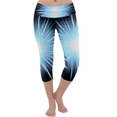Bright Light On Black Background Capri Yoga Leggings by Mariart