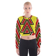 Chevron Symbols Multiple Large Red Yellow Cropped Sweatshirt by Mariart