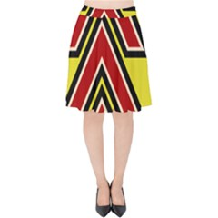 Chevron Symbols Multiple Large Red Yellow Velvet High Waist Skirt by Mariart