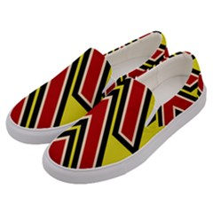 Chevron Symbols Multiple Large Red Yellow Men s Canvas Slip Ons by Mariart