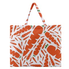 Carrots Fruit Vegetable Orange Zipper Large Tote Bag by Mariart