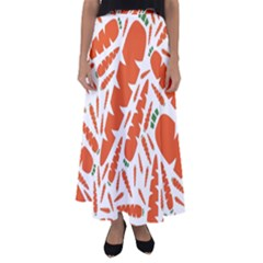 Carrots Fruit Vegetable Orange Flared Maxi Skirt by Mariart