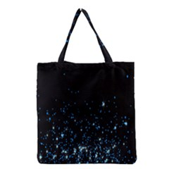 Blue Glowing Star Particle Random Motion Graphic Space Black Grocery Tote Bag by Mariart
