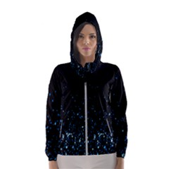 Blue Glowing Star Particle Random Motion Graphic Space Black Hooded Wind Breaker (women) by Mariart