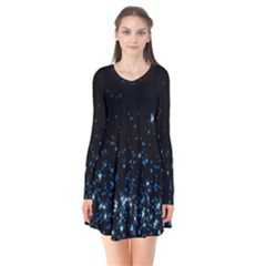 Blue Glowing Star Particle Random Motion Graphic Space Black Flare Dress by Mariart