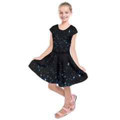 Blue Glowing Star Particle Random Motion Graphic Space Black Kids  Short Sleeve Dress by Mariart
