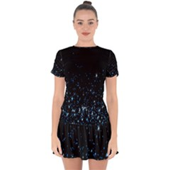 Blue Glowing Star Particle Random Motion Graphic Space Black Drop Hem Mini Chiffon Dress by Mariart