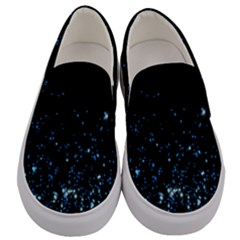 Blue Glowing Star Particle Random Motion Graphic Space Black Men s Canvas Slip Ons