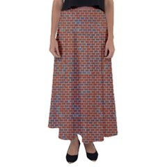 Brick Wall Brown Line Flared Maxi Skirt by Mariart