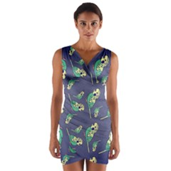 Canaries Budgie Pattern Bird Animals Cute Wrap Front Bodycon Dress by Mariart