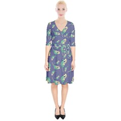 Canaries Budgie Pattern Bird Animals Cute Wrap Up Cocktail Dress
